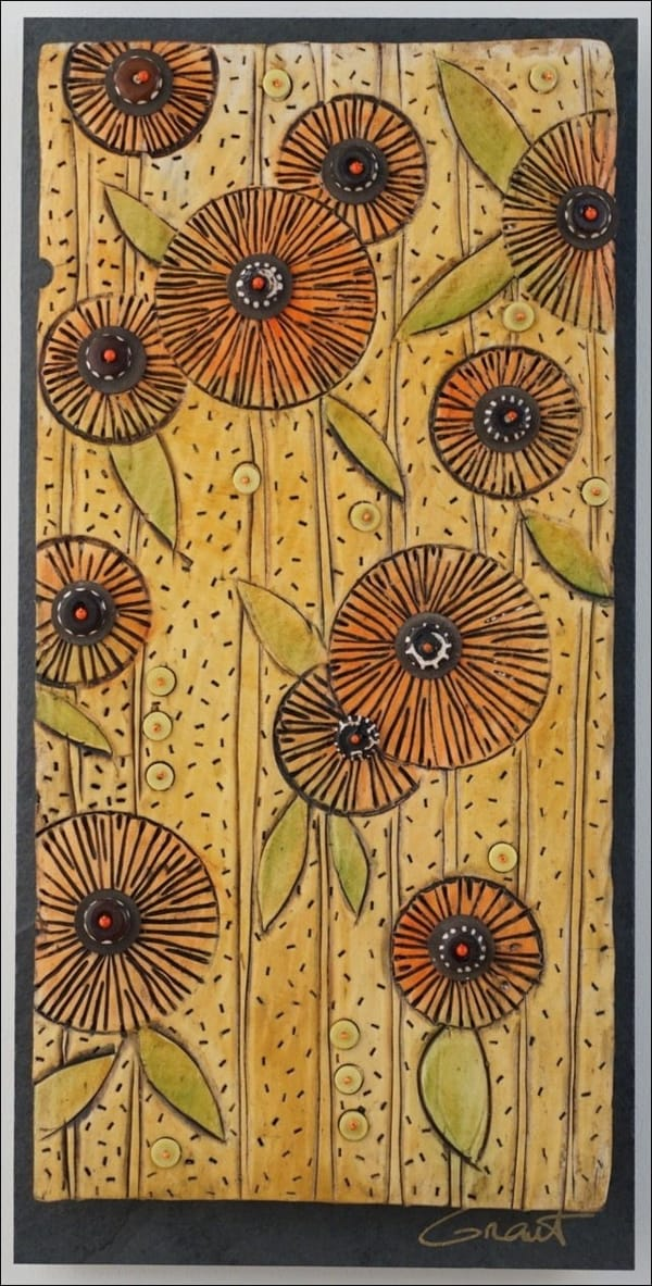 Click to view detail for VG080 Vertical Slate and Clay Floral