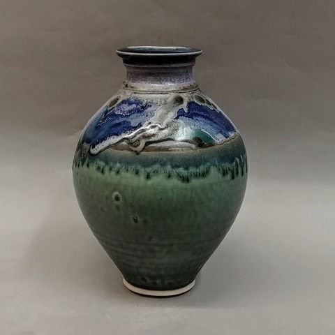 Click to view detail for Vase 9x6 Green & Blue