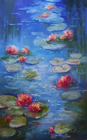 Click to view detail for Water Lilies 48x30