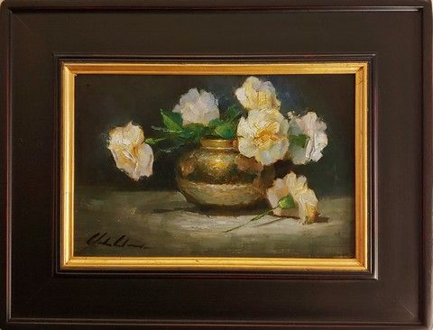 Click to view detail for White Carnations in Brass Vase  8x12   $450