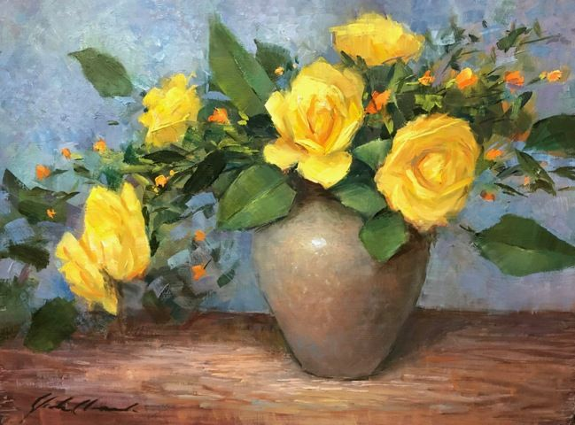 Click to view detail for Yellow Roses in Clay Vase 9x12