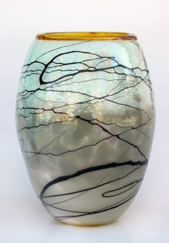 Click to view detail for DB-367 Vase, Gray & Gold Lightning 8x6