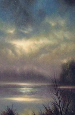 River In Moonlight 7x5 at Hunter Wolff Gallery
