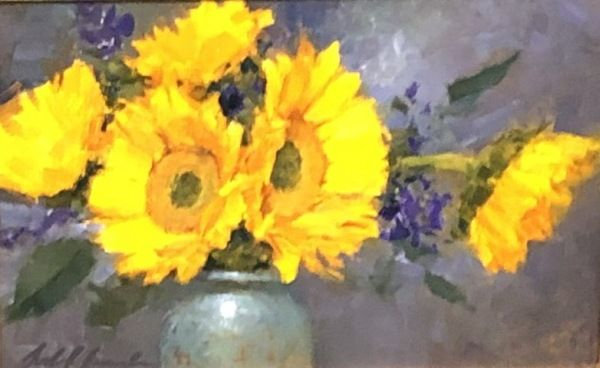 Click to view detail for Sunflowers in Blue Vase
