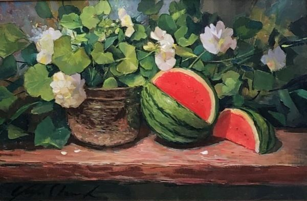 Click to view detail for Watermelon and Geraniums 16x24